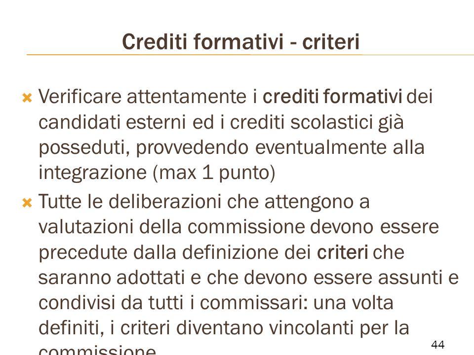 Crediti formativi - criteri