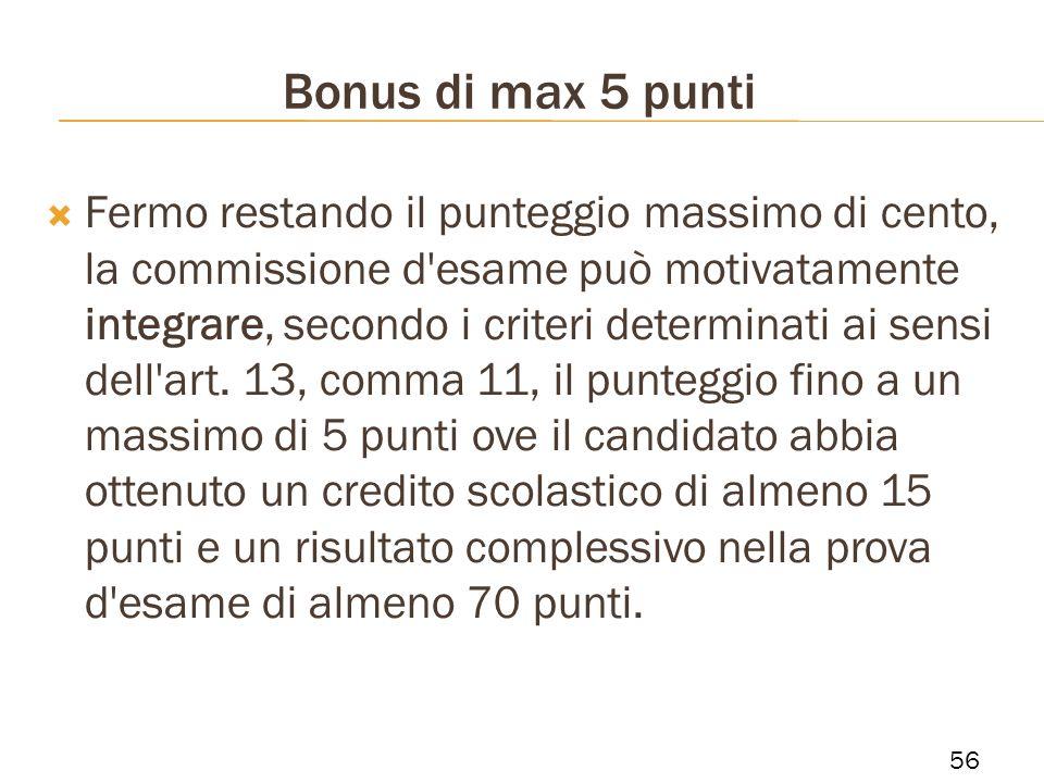 Bonus di max 5 punti