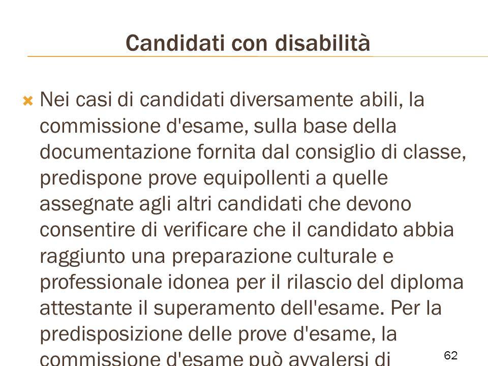 Candidati con disabilità