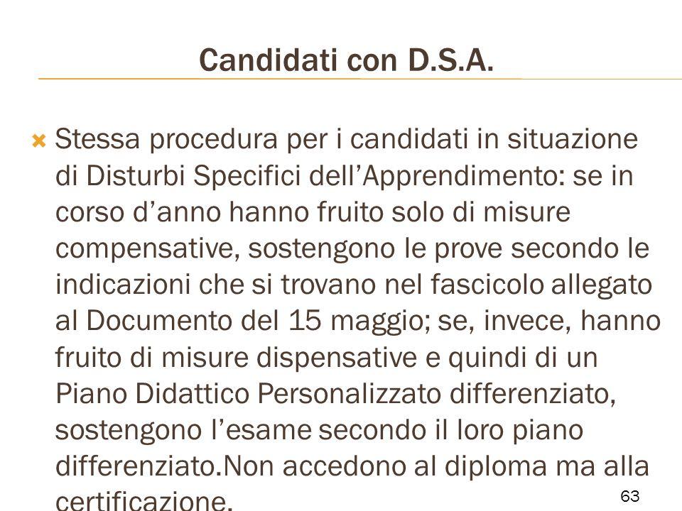 Candidati con D.S.A.
