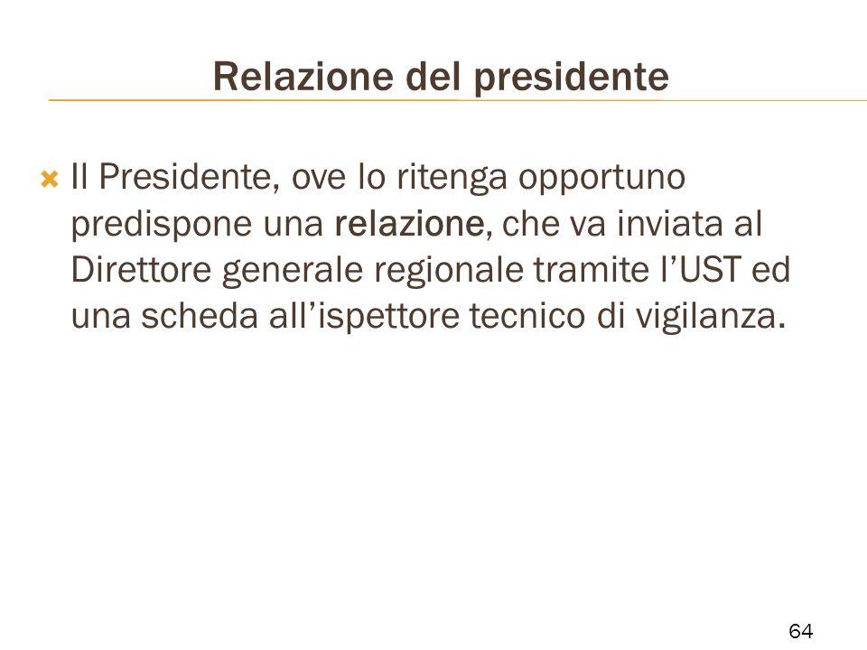 Relazione del presidente