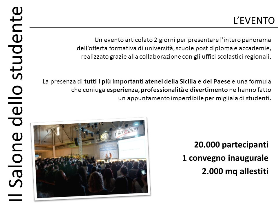 L'EVENTO 20.000 partecipanti 1 convegno inaugurale 2.000 mq allestiti