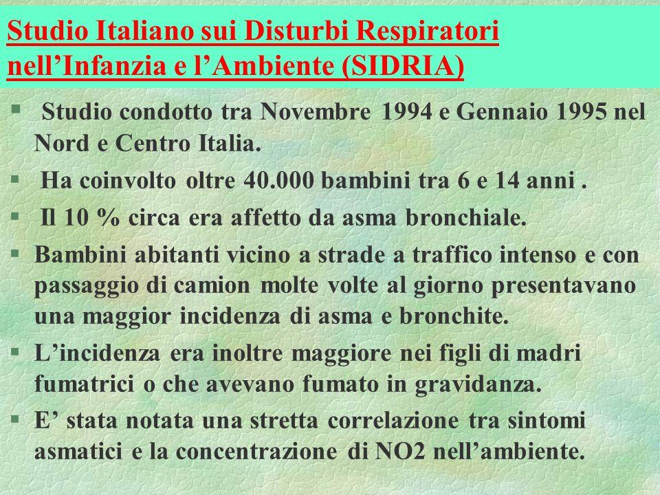 Studio Italiano sui Disturbi Respiratori nell'Infanzia e l'Ambiente (SIDRIA)