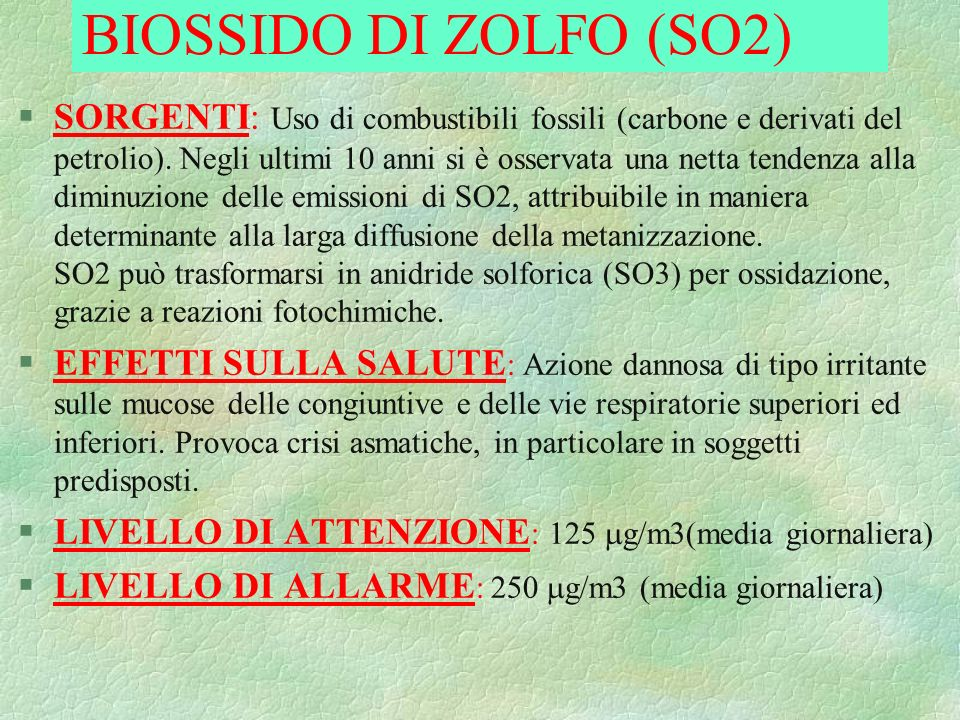BIOSSIDO DI ZOLFO (SO2)
