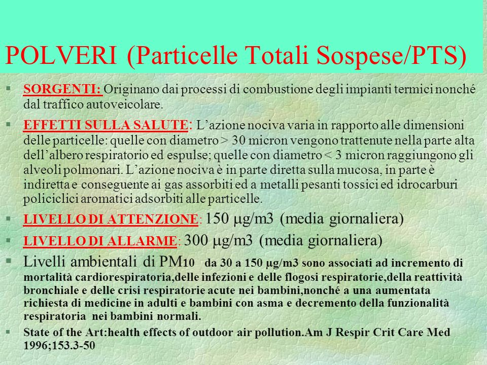 POLVERI (Particelle Totali Sospese/PTS)