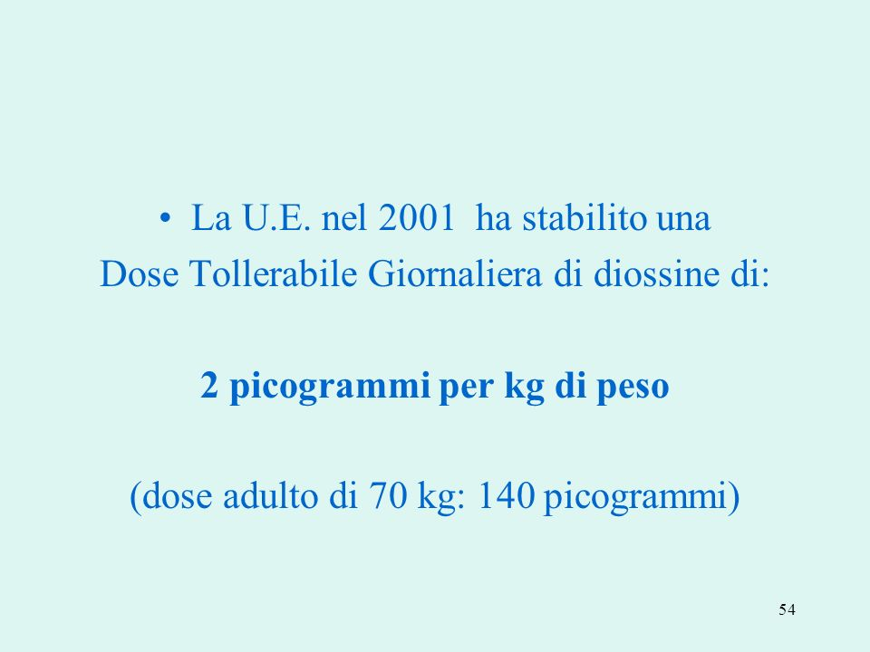 2 picogrammi per kg di peso