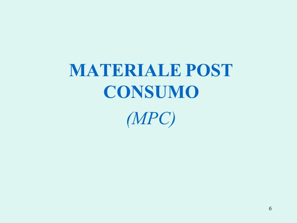 MATERIALE POST CONSUMO (MPC)