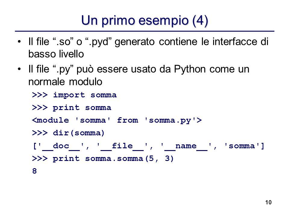Un primo esempio (4) Il file .so o .pyd generato contiene le interfacce di basso livello.