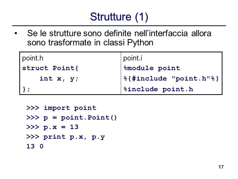 Strutture (1) Se le strutture sono definite nell'interfaccia allora sono trasformate in classi Python.