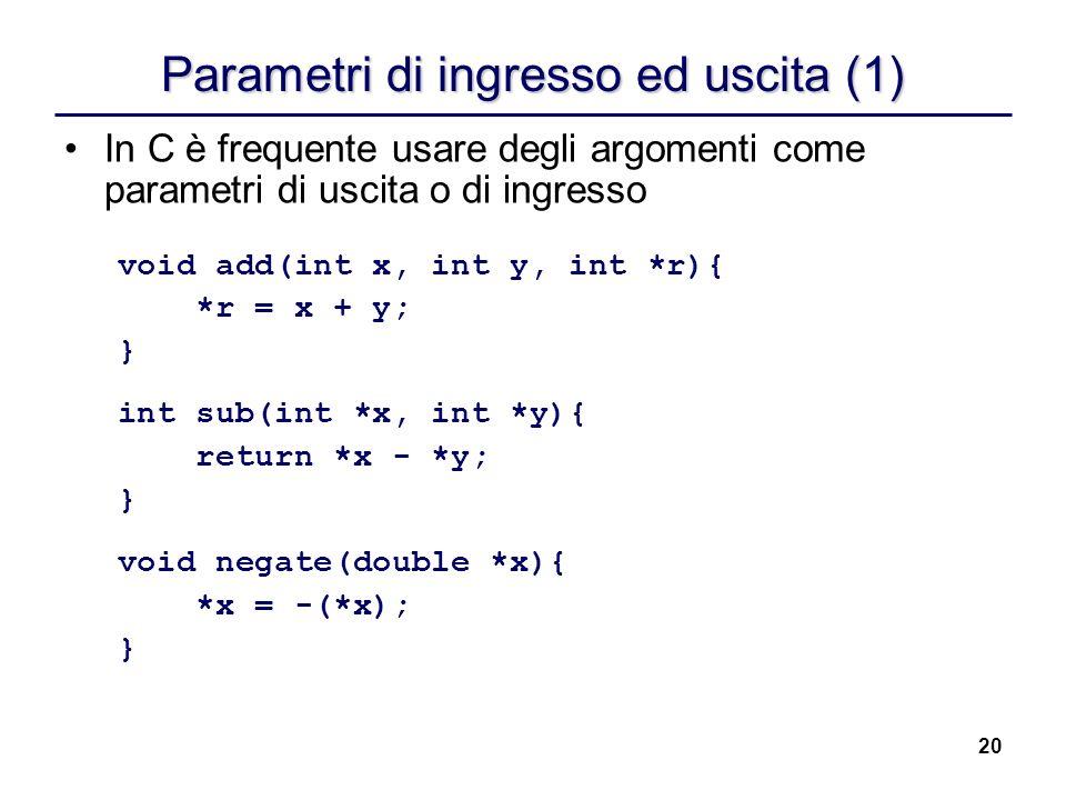 Parametri di ingresso ed uscita (1)