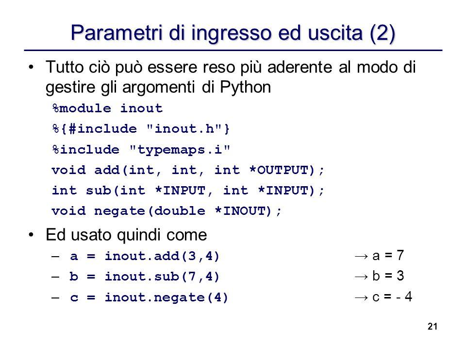 Parametri di ingresso ed uscita (2)