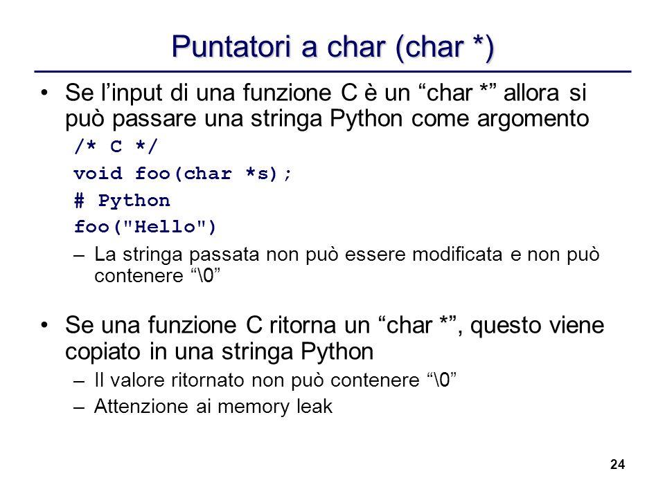 Puntatori a char (char *)