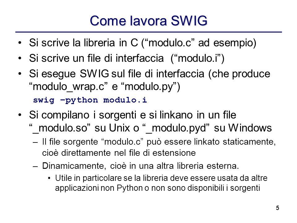 Come lavora SWIG Si scrive la libreria in C ( modulo.c ad esempio)