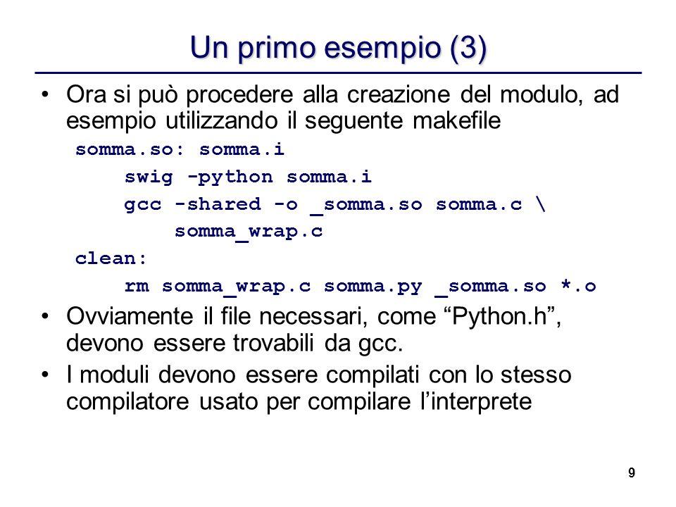 Un primo esempio (3) Ora si può procedere alla creazione del modulo, ad esempio utilizzando il seguente makefile.