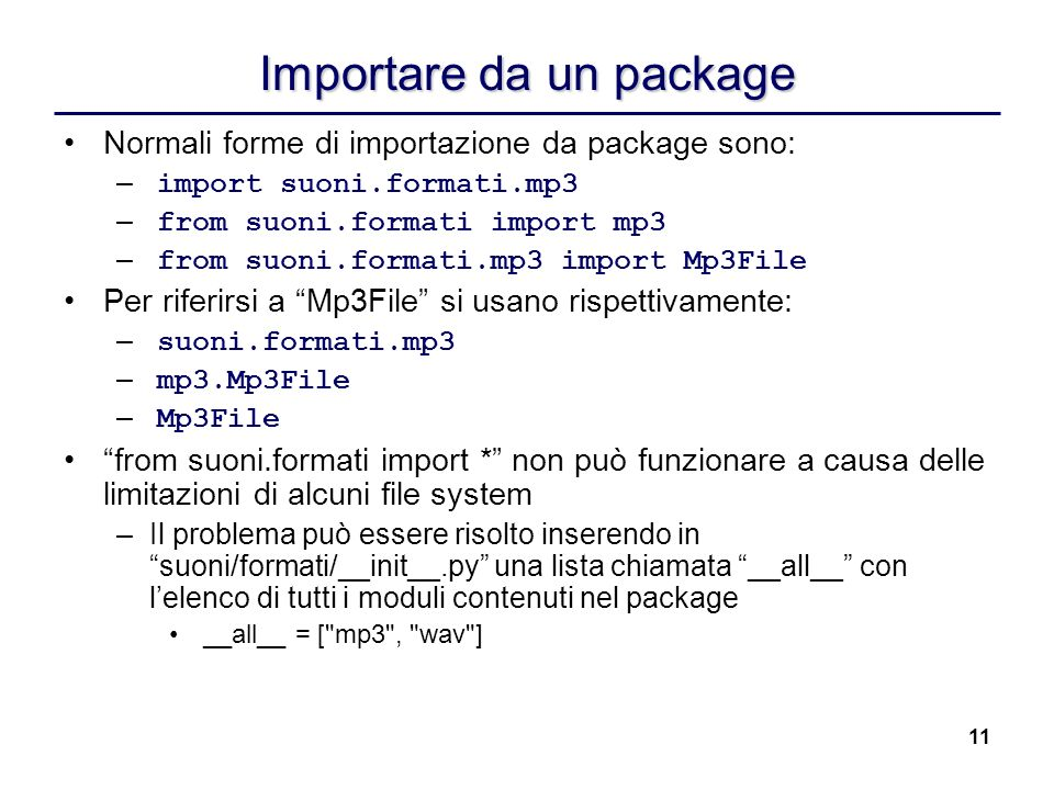 Importare da un package
