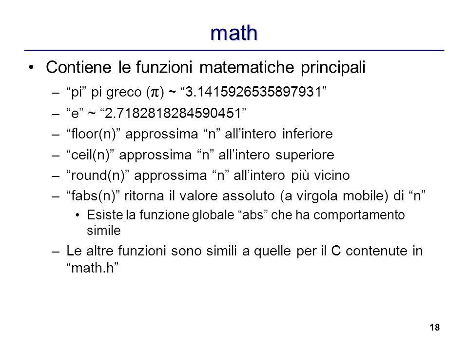 math Contiene le funzioni matematiche principali