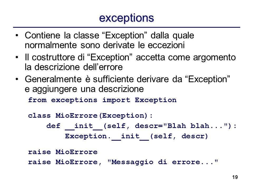 exceptions Contiene la classe Exception dalla quale normalmente sono derivate le eccezioni.
