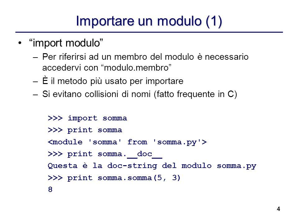 Importare un modulo (1) import modulo