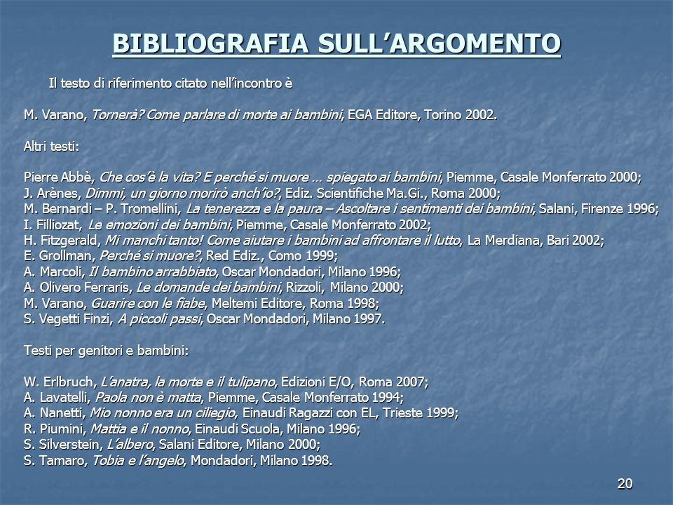 BIBLIOGRAFIA SULL'ARGOMENTO