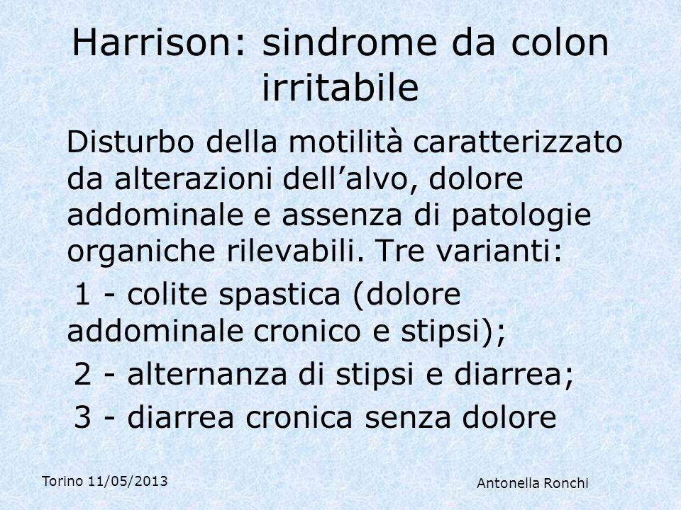 Harrison: sindrome da colon irritabile