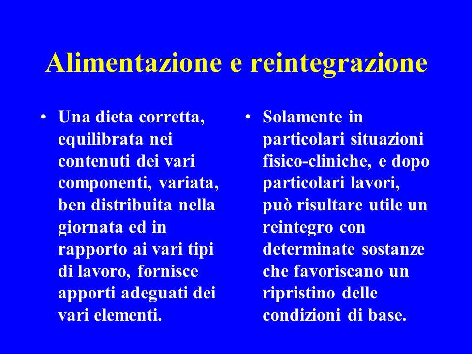Alimentazione e reintegrazione