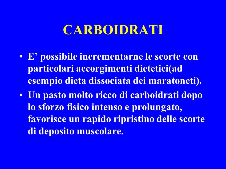 CARBOIDRATI E' possibile incrementarne le scorte con particolari accorgimenti dietetici(ad esempio dieta dissociata dei maratoneti).