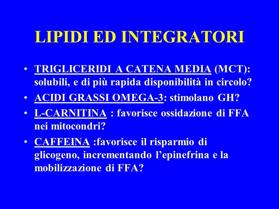 LIPIDI ED INTEGRATORI TRIGLICERIDI A CATENA MEDIA (MCT): solubili, e di più rapida disponibilità in circolo