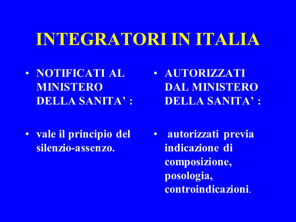 INTEGRATORI IN ITALIA NOTIFICATI AL MINISTERO DELLA SANITA' :