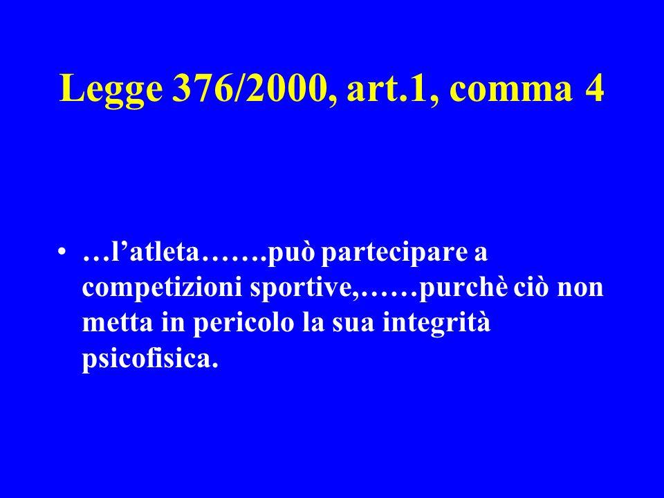 Legge 376/2000, art.1, comma 4 …l'atleta…….può partecipare a competizioni sportive,……purchè ciò non metta in pericolo la sua integrità psicofisica.