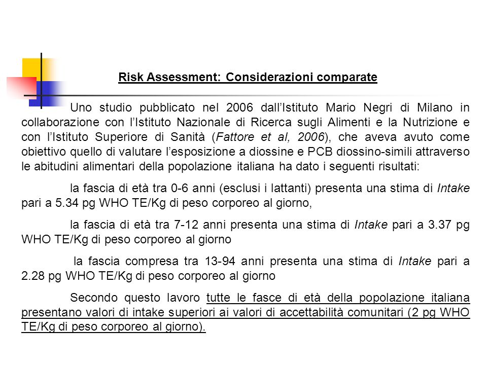 Risk Assessment: Considerazioni comparate