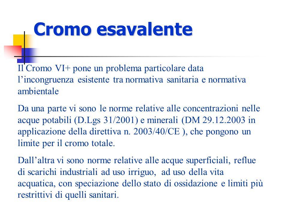 Cromo esavalente Il Cromo VI+ pone un problema particolare data l'incongruenza esistente tra normativa sanitaria e normativa ambientale.