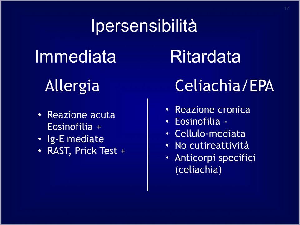 Ipersensibilità Immediata Ritardata Celiachia/EPA Allergia
