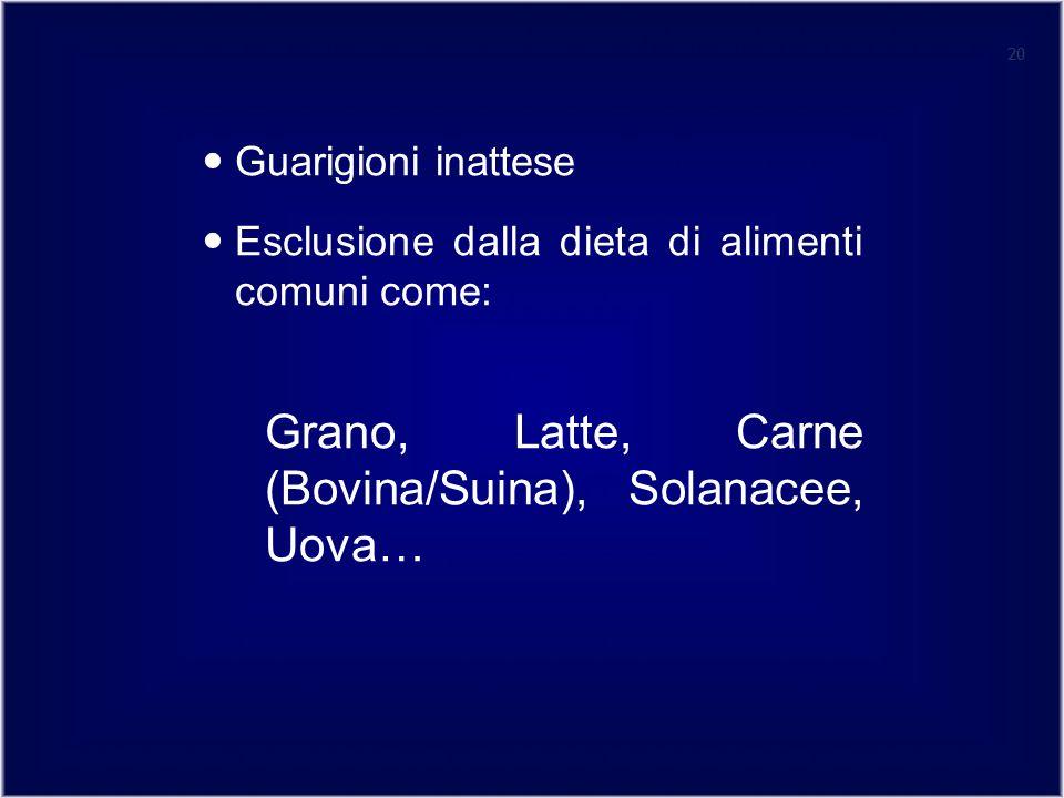 Grano, Latte, Carne (Bovina/Suina), Solanacee, Uova…