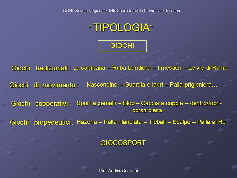 TIPOLOGIA GIOCHI Giochi tradizionali : Giochi di movimento :