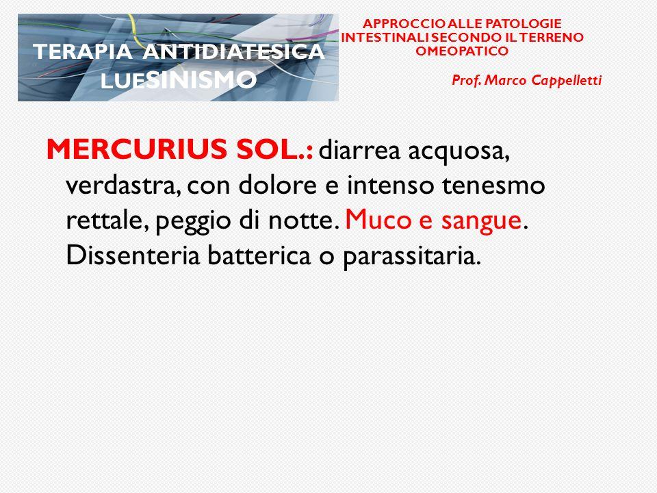 elle APPROCCIO ALLE PATOLOGIE INTESTINALI SECONDO IL TERRENO OMEOPATICO. Prof. Marco Cappelletti. TERAPIA ANTIDIATESICA LUESINISMO.