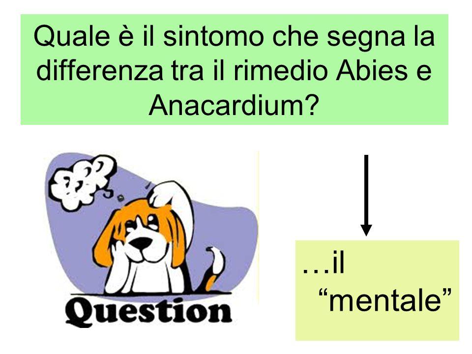 Quale è il sintomo che segna la differenza tra il rimedio Abies e Anacardium