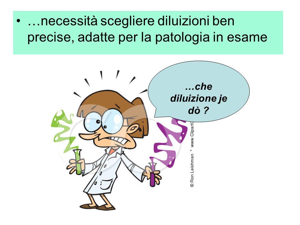 …necessità scegliere diluizioni ben precise, adatte per la patologia in esame