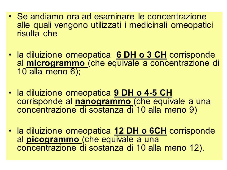 Se andiamo ora ad esaminare le concentrazione alle quali vengono utilizzati i medicinali omeopatici risulta che