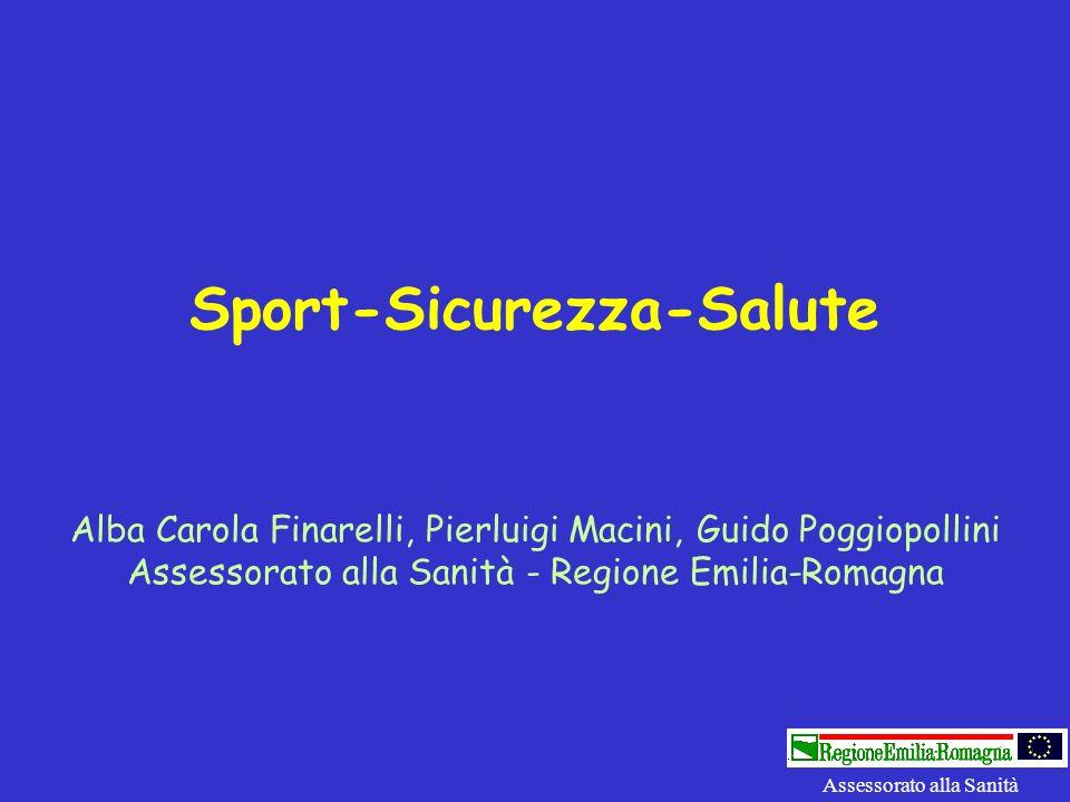 Sport-Sicurezza-Salute Alba Carola Finarelli, Pierluigi Macini, Guido Poggiopollini Assessorato alla Sanità - Regione Emilia-Romagna