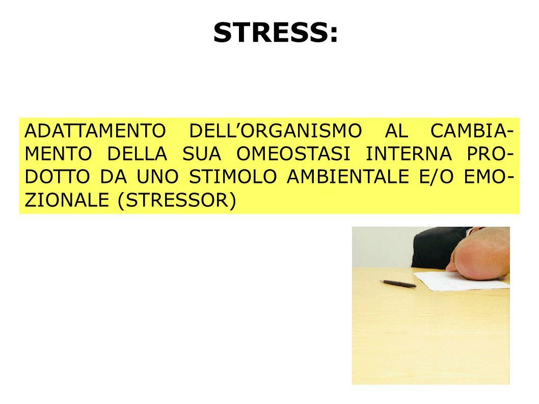 STRESS: ADATTAMENTO DELL'ORGANISMO AL CAMBIA-MENTO DELLA SUA OMEOSTASI INTERNA PRO-DOTTO DA UNO STIMOLO AMBIENTALE E/O EMO-ZIONALE (STRESSOR)