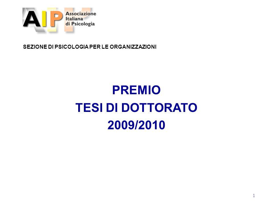 PREMIO TESI DI DOTTORATO 2009/2010