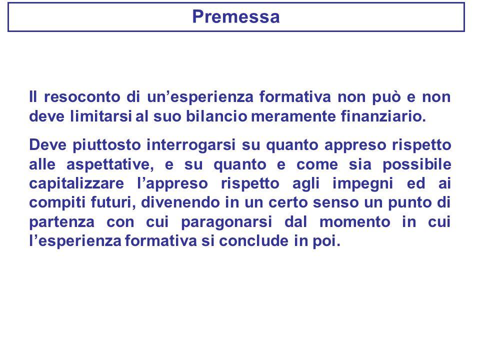 Premessa Il resoconto di un'esperienza formativa non può e non deve limitarsi al suo bilancio meramente finanziario.