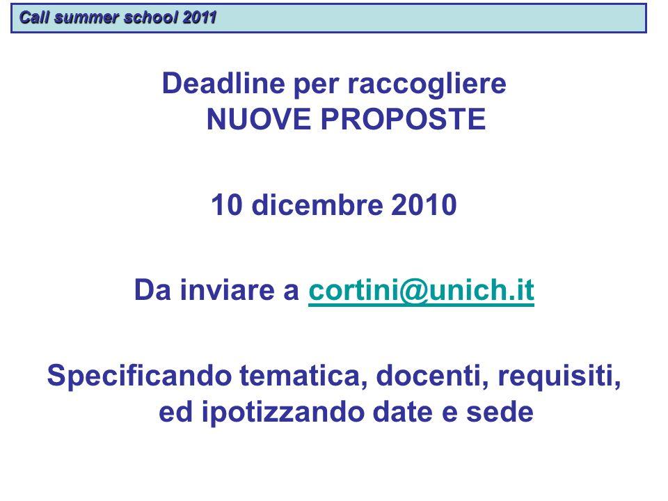 Deadline per raccogliere NUOVE PROPOSTE