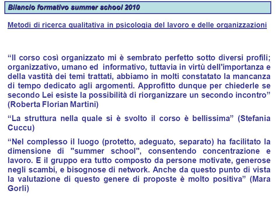 Bilancio formativo summer school 2010