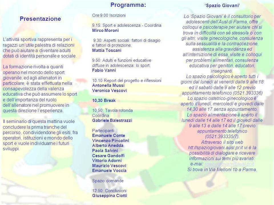Programma: Presentazione 'Spazio Giovani'