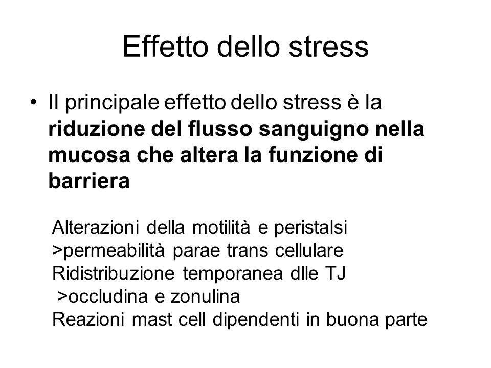 Effetto dello stress Il principale effetto dello stress è la riduzione del flusso sanguigno nella mucosa che altera la funzione di barriera.