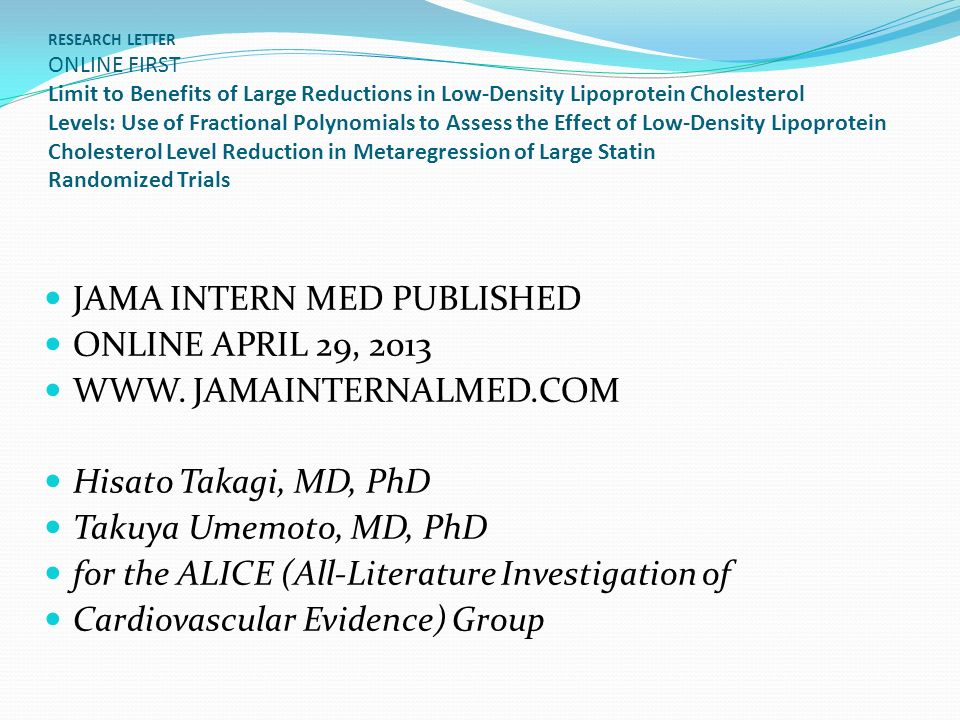 JAMA INTERN MED PUBLISHED ONLINE APRIL 29, 2013