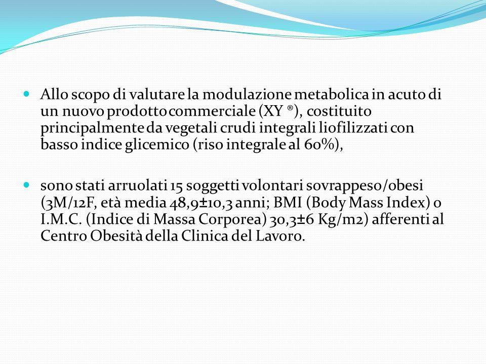 Allo scopo di valutare la modulazione metabolica in acuto di un nuovo prodotto commerciale (XY ®), costituito principalmente da vegetali crudi integrali liofilizzati con basso indice glicemico (riso integrale al 60%),