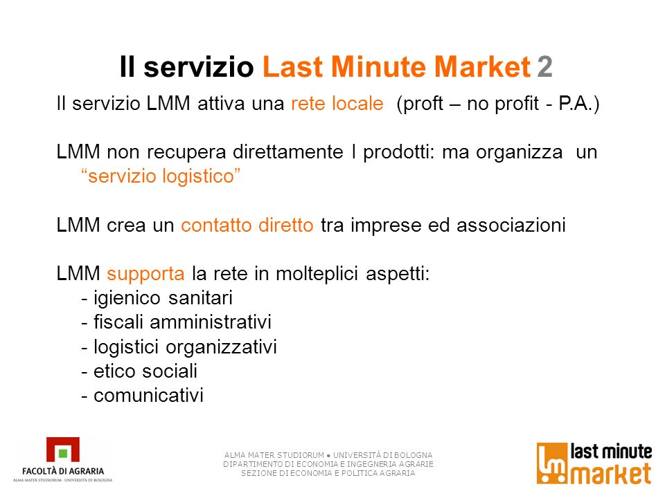 Il servizio Last Minute Market 2