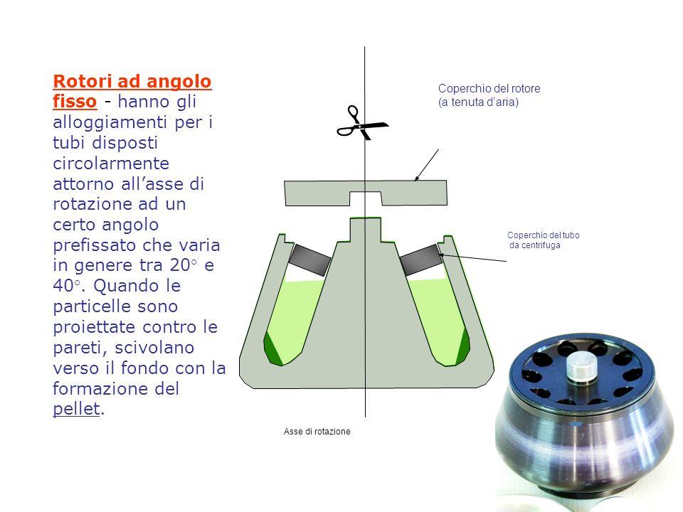 Rotori ad angolo fisso - hanno gli alloggiamenti per i tubi disposti circolarmente attorno all'asse di rotazione ad un certo angolo prefissato che varia in genere tra 20° e 40°. Quando le particelle sono proiettate contro le pareti, scivolano verso il fondo con la formazione del pellet.